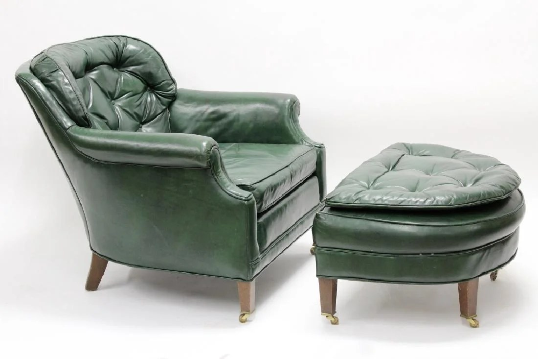 Ethan Allen Club Chairs Ethan Allen Green Leather Club Chair Ottoman On Liveauctioneers