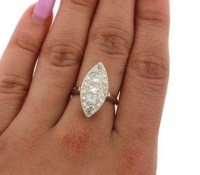 1.25 CT Vintage Almond Shape Natural Diamond Ring 14Kt