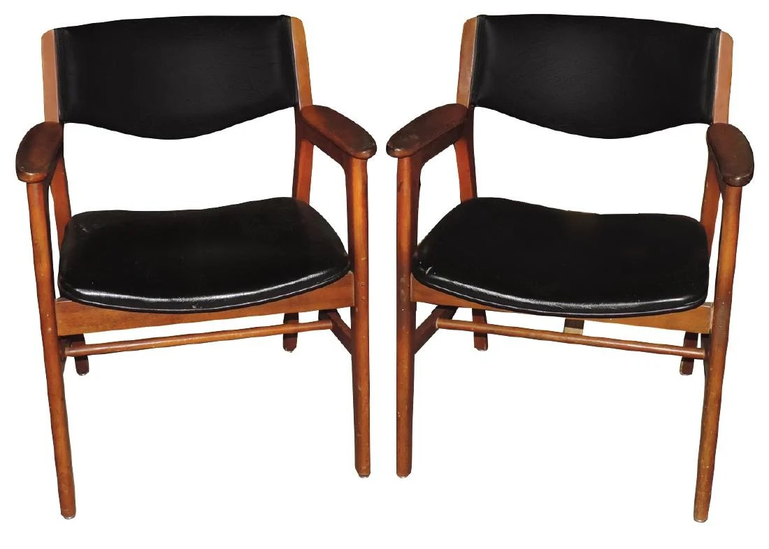 wh gunlocke chair stressless office review furniture 2 mid century chairs w h