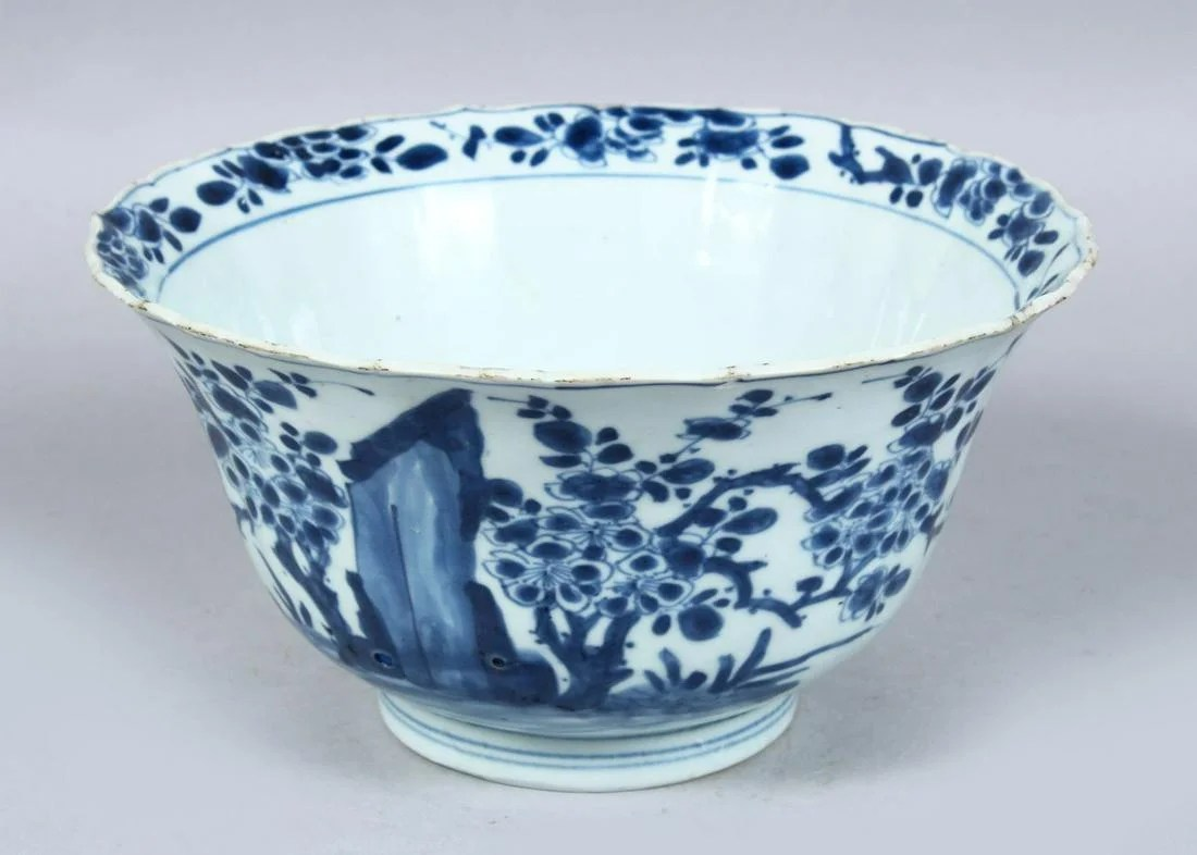 A GOOD CHINESE KANGXI PERIOD MOULDED BLUE & HITE