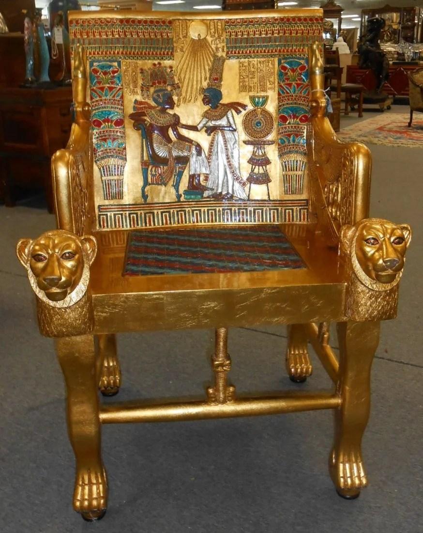 Egyptian Tutankhamun King Tut Throne Chair Lot 0132