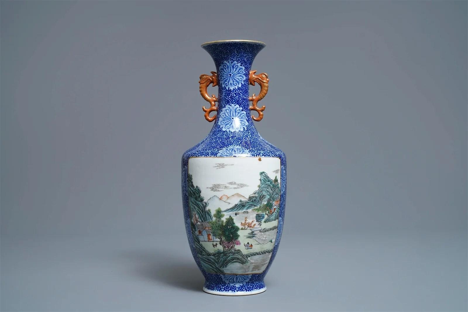 A fine Chinese famille rose 'landscape' vase, Qianlong