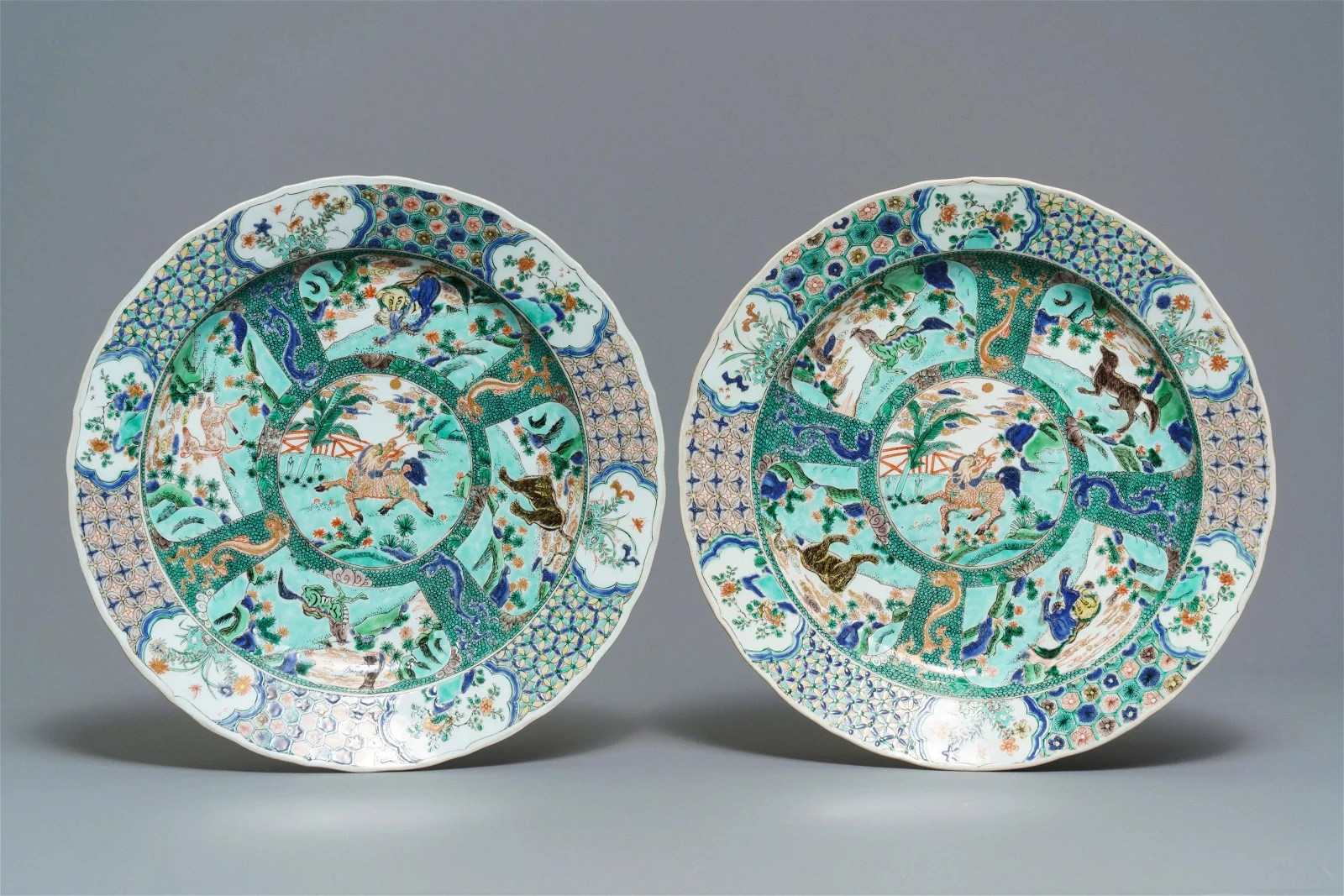 A pair of Chinese famille verte 'mythical beasts'