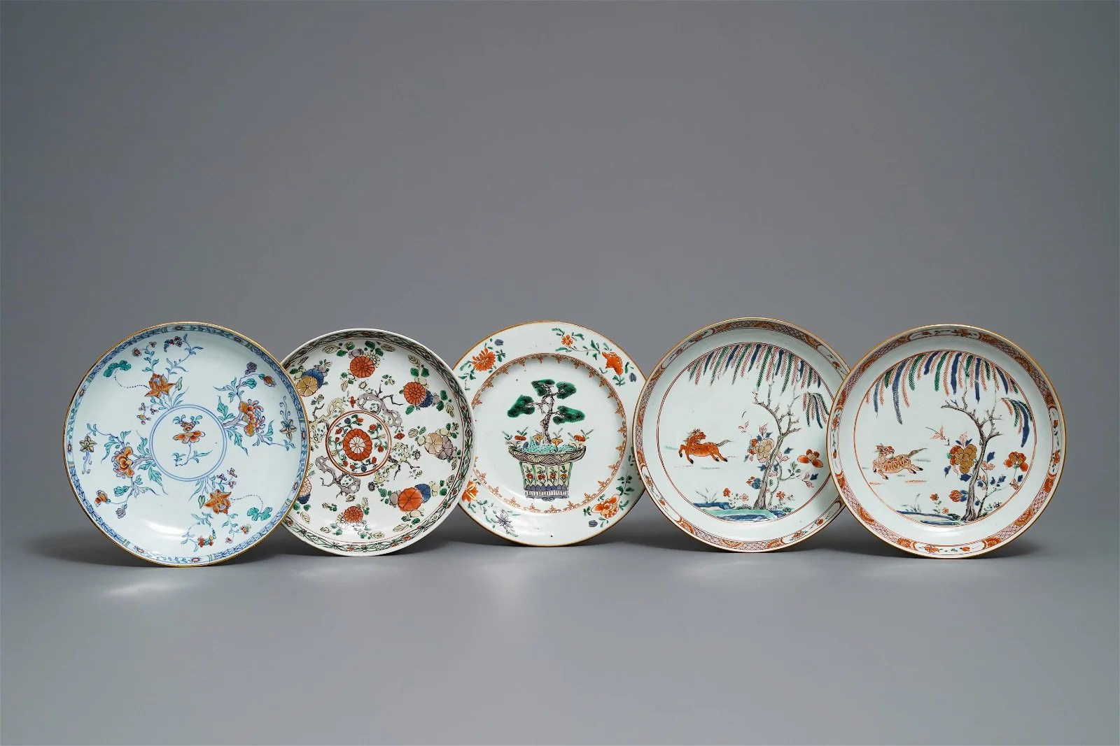 Five Chinese famille verte and doucai plates, Kangxi