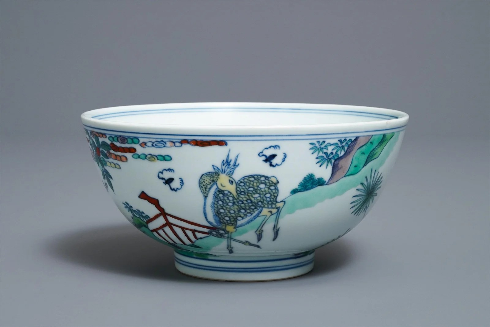 A Chinese doucai 'monkey and deer' bowl, Chenghua mark,