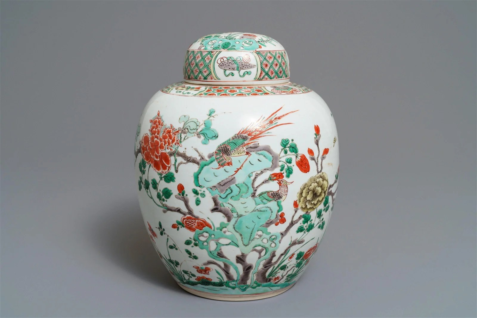 A Chinese famille verte ginger jar and cover, Kangxi
