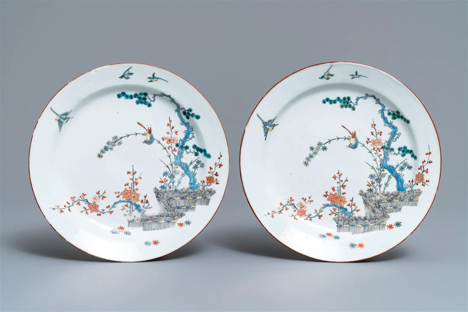 A pair of Chinese Dutch-decorated Kakiemon-style