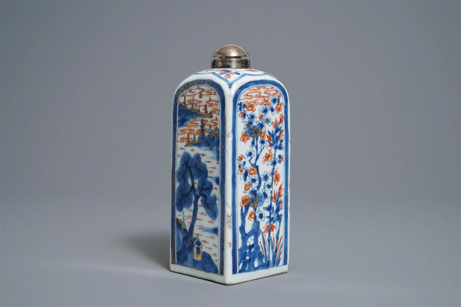 A square Chinese Imari-style silver-mounted bottle,