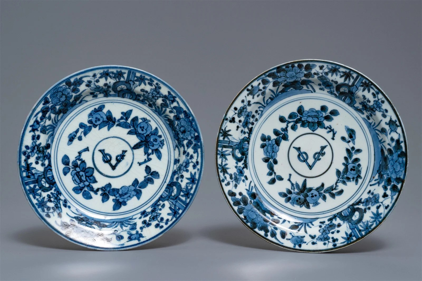 A pair of Japanese blue and white 'VOC' monogram