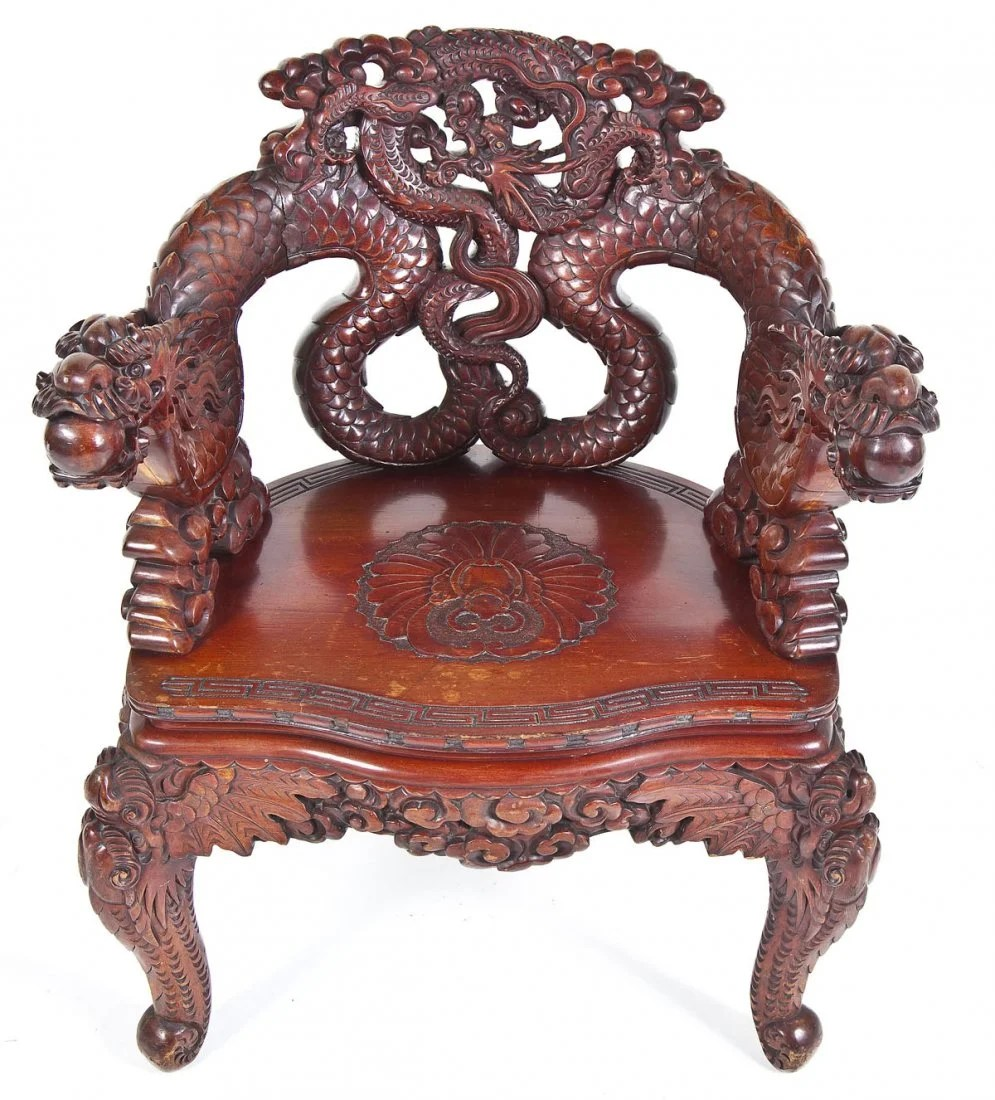 Dragon Chair Chinese Carved Dragon Chair On Liveauctioneers