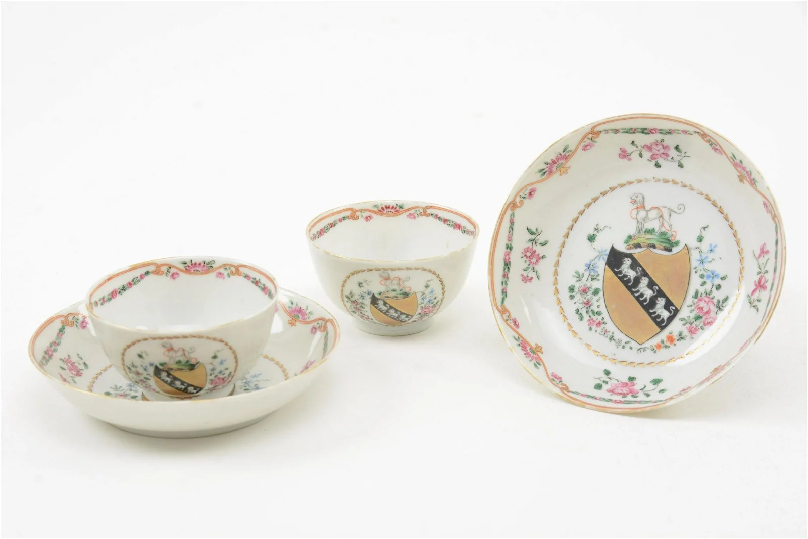 Chinese Export Porcelain Armorial Cups, 18th C.