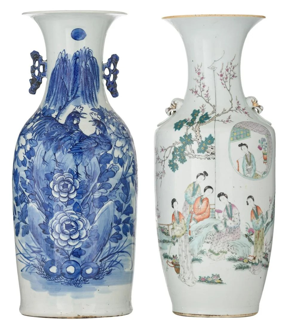 A Chinese famille rose vase, decorated with an animated