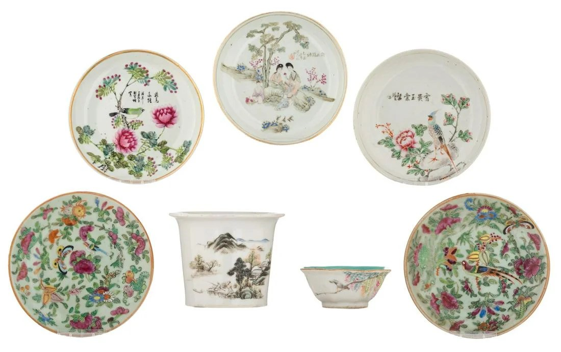 Five Chinese polychrome and famille rose dishes, a