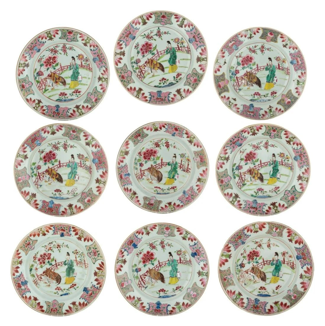 Nine Chinese famille rose dishes, decorated with an