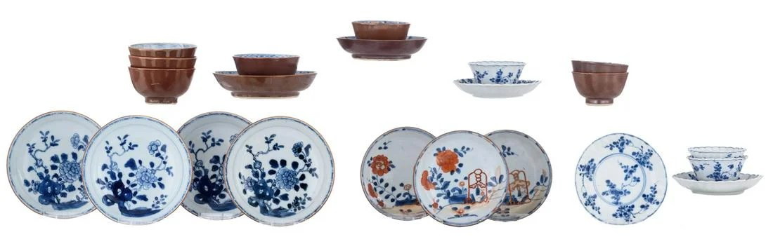 Various Chinese blue and white and cafe au lait