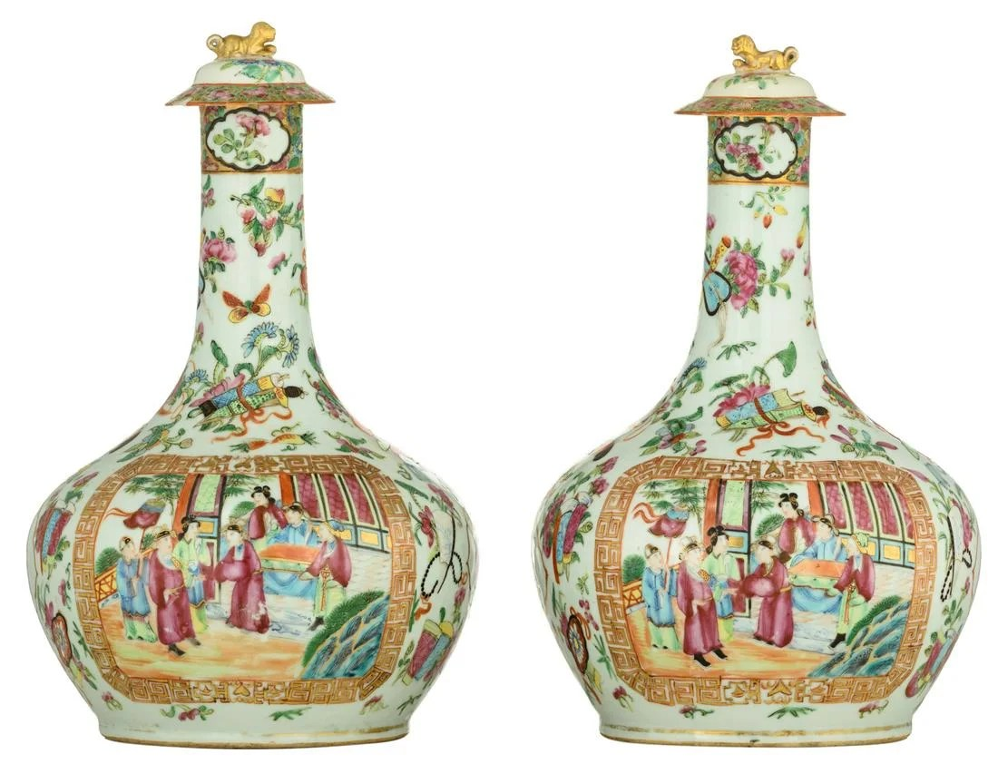Two Chinese Canton bottle vases, famille rose decorated