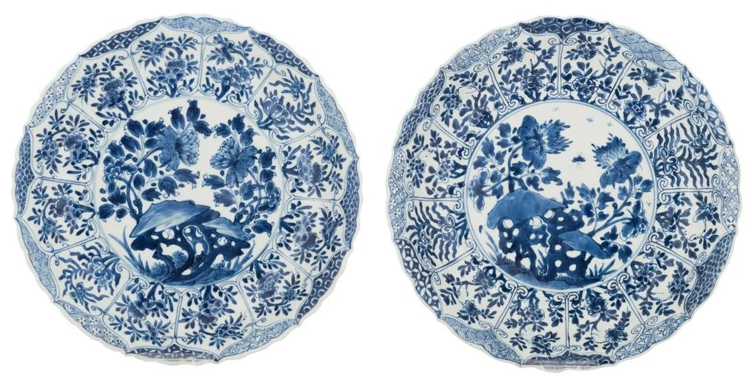 Two Chinese blue and white lobed deep dishes, decorated