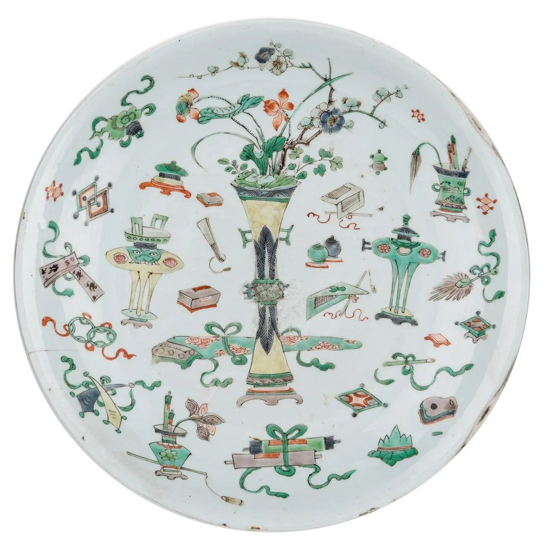 A large Chinese famille verte deep dish, both sides