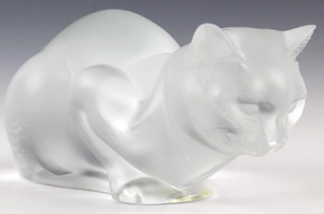 lalique french crystal cat