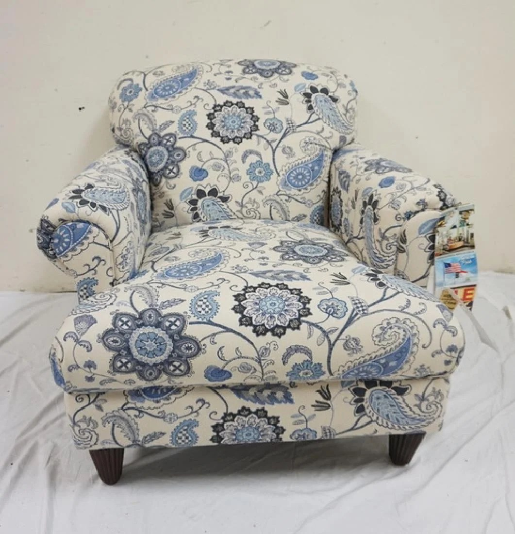 Paisley Chair Klaussner Blue And White Paisley Upholstered Arm Chair On Liveauctioneers