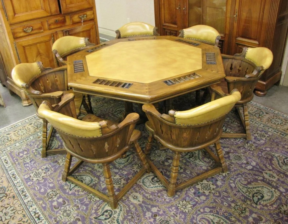 Poker Table And Chairs Romweber Viking Oak 7 Top Poker Table Chairs Lot 0640