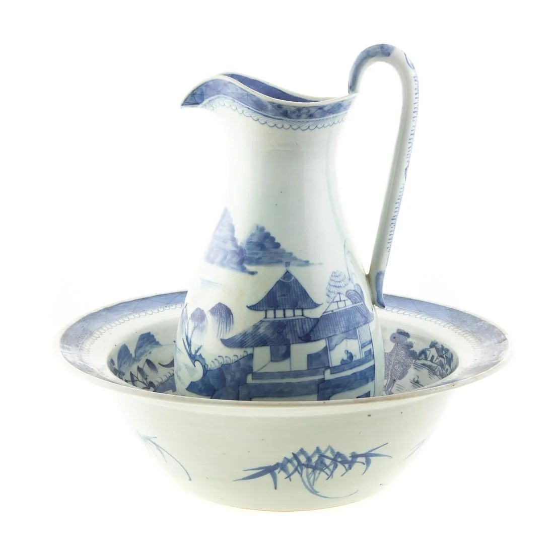 Chinese Export Canton Pitcher & Wash Basin