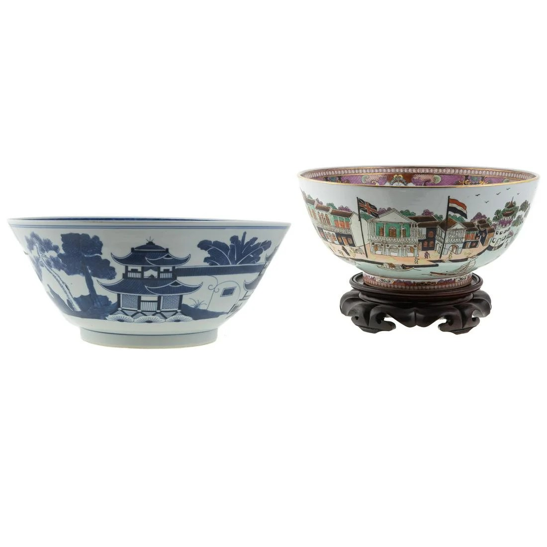 Two Contemporary Chinese Export Punch Bowls