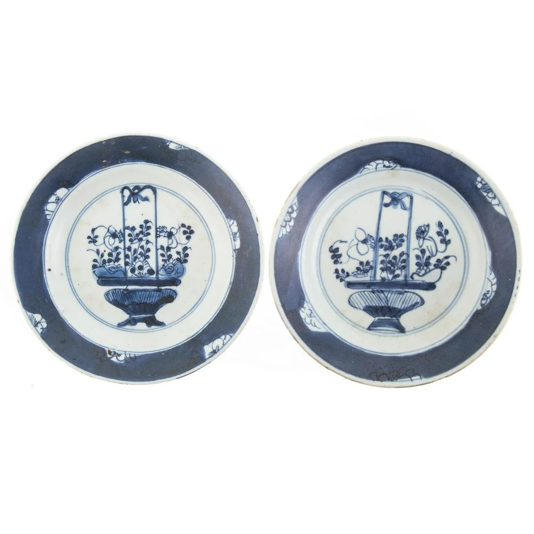 Pair Chinese Export Blue/White Small Plates