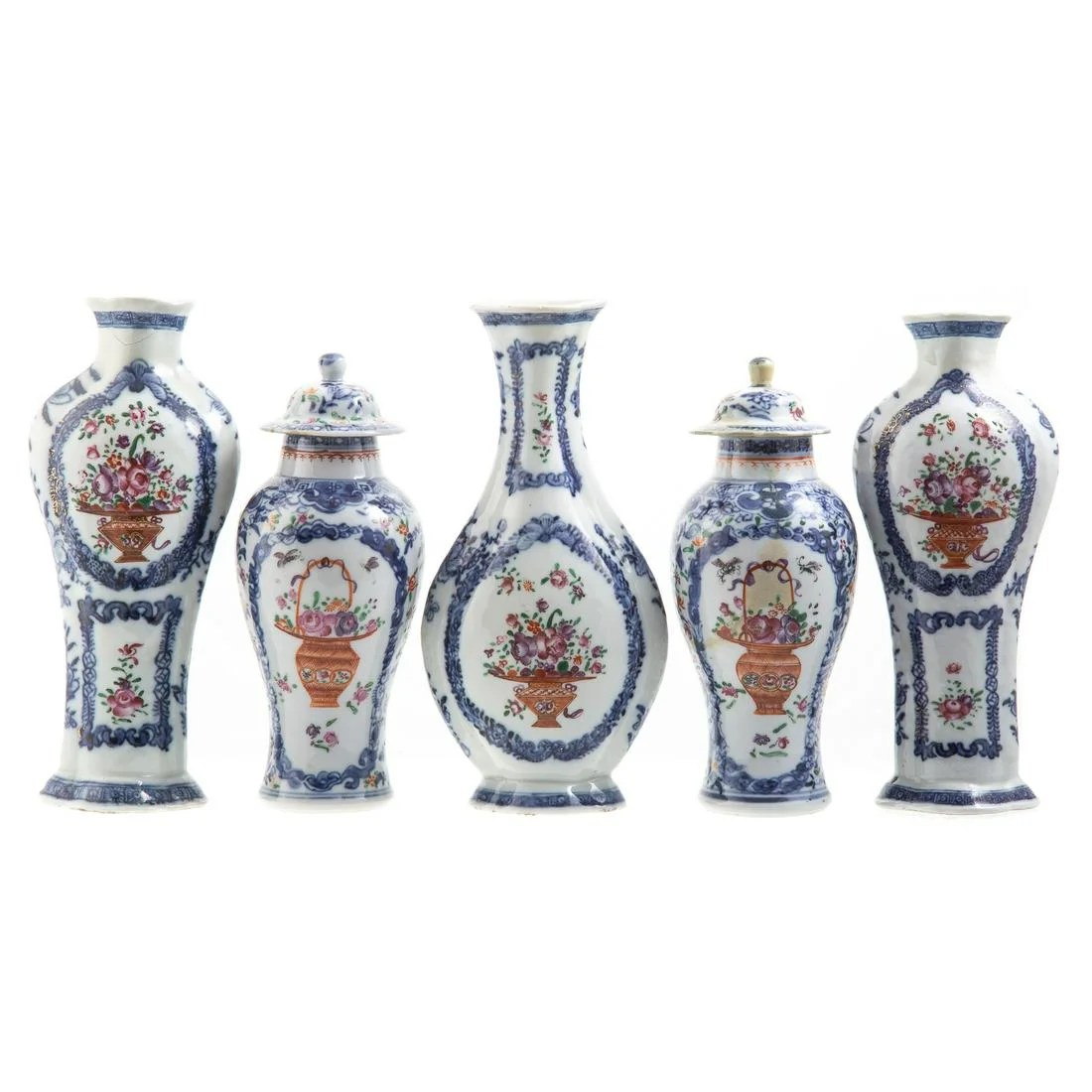 Chinese Export Five Piece Miniature Garniture