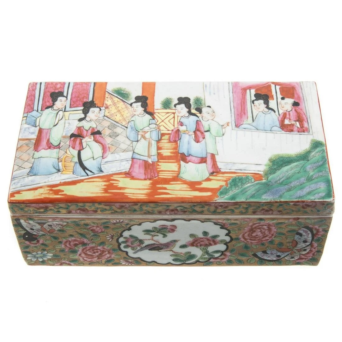 Chinese Export Rose Mandarin Writing Box