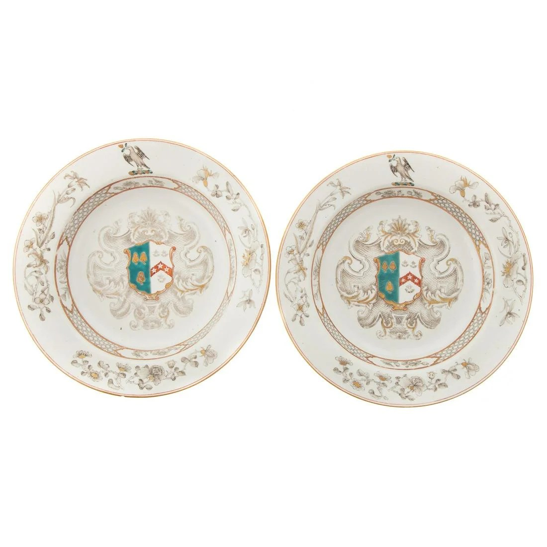 Pair Chinese Export Armorial Plates