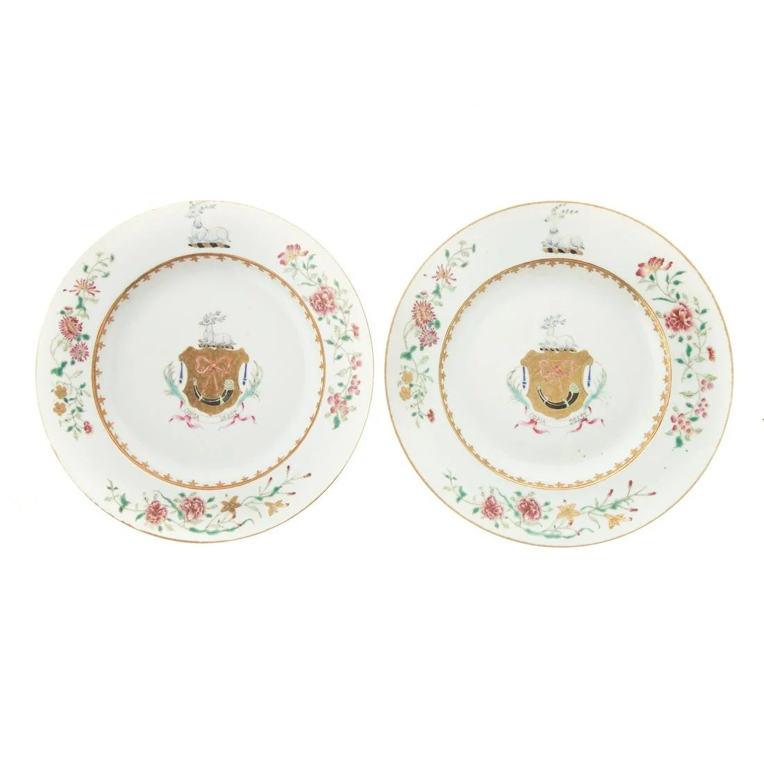 Pair Chinese Armorial Porcelain Plates