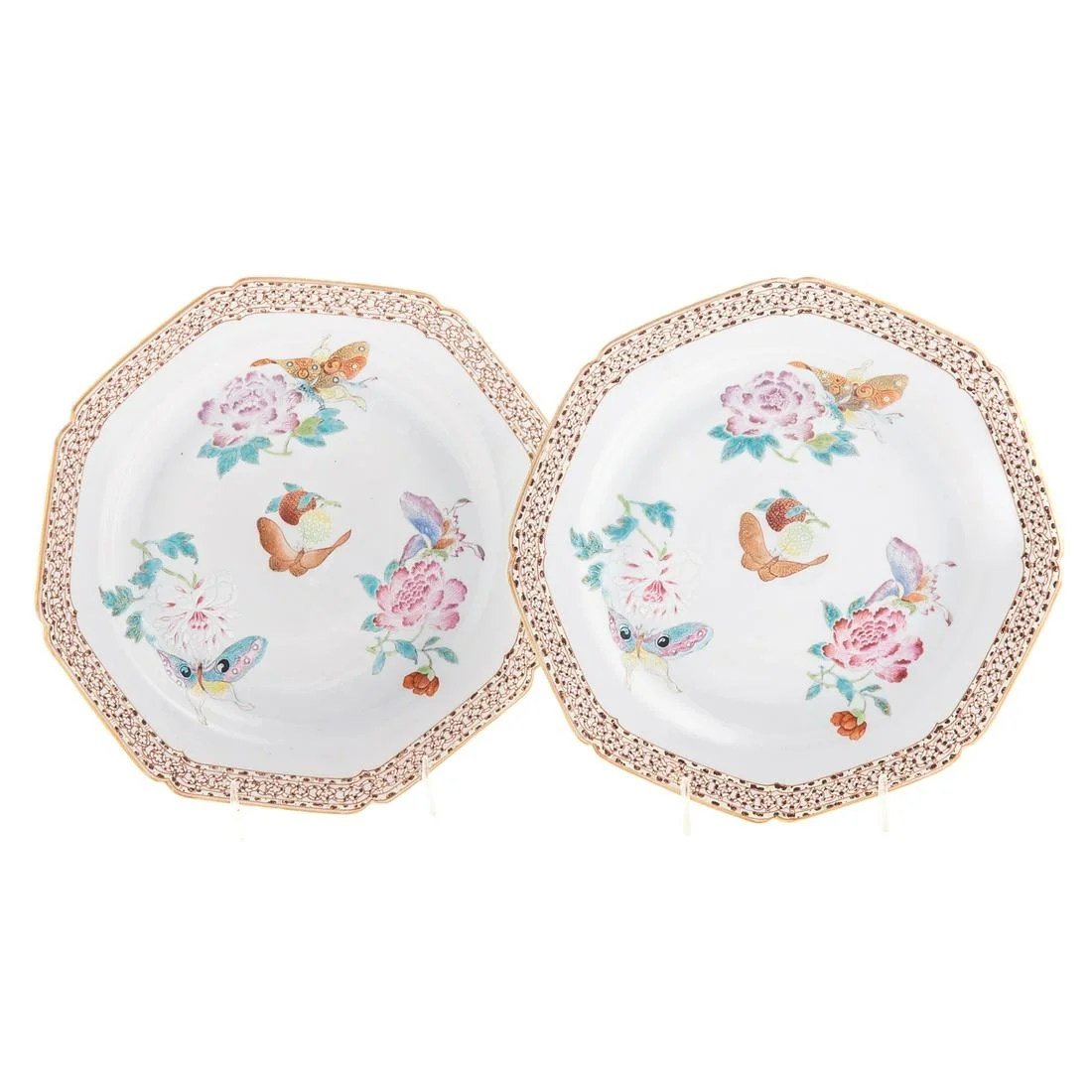 Pair of Chinese Export Famille Rose Plates