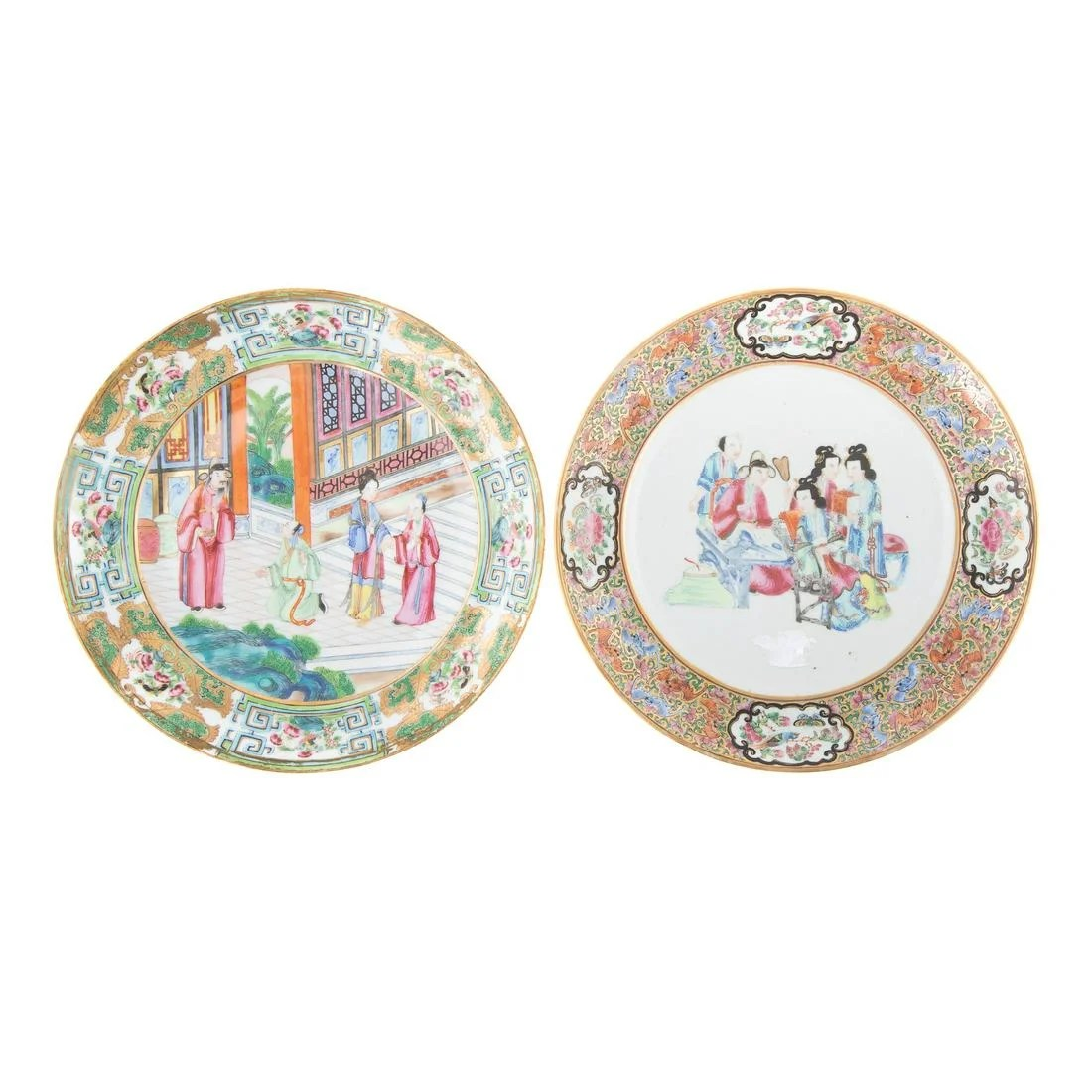 Two Chinese Export Rose Mandarin Plates