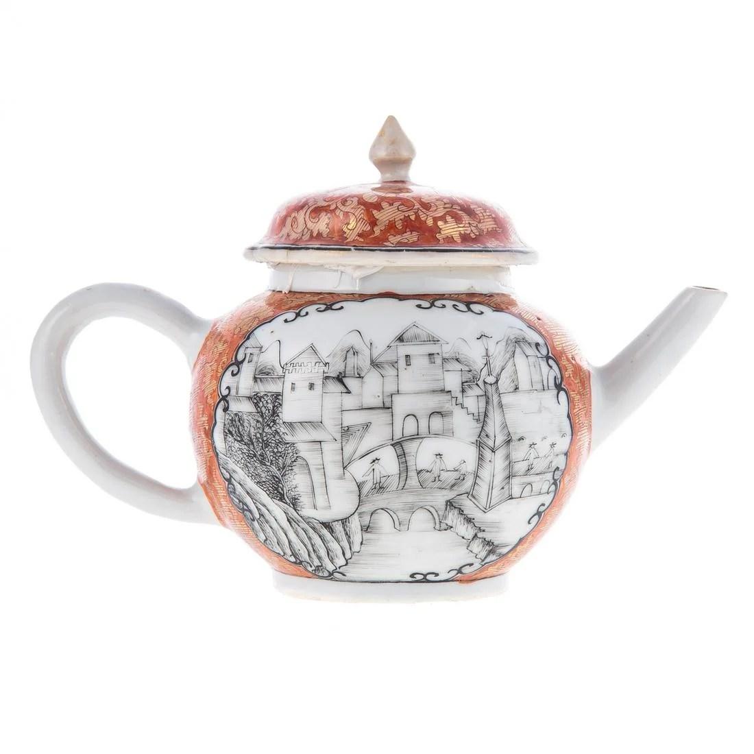 Rare Chinese Export European Scene Teapot