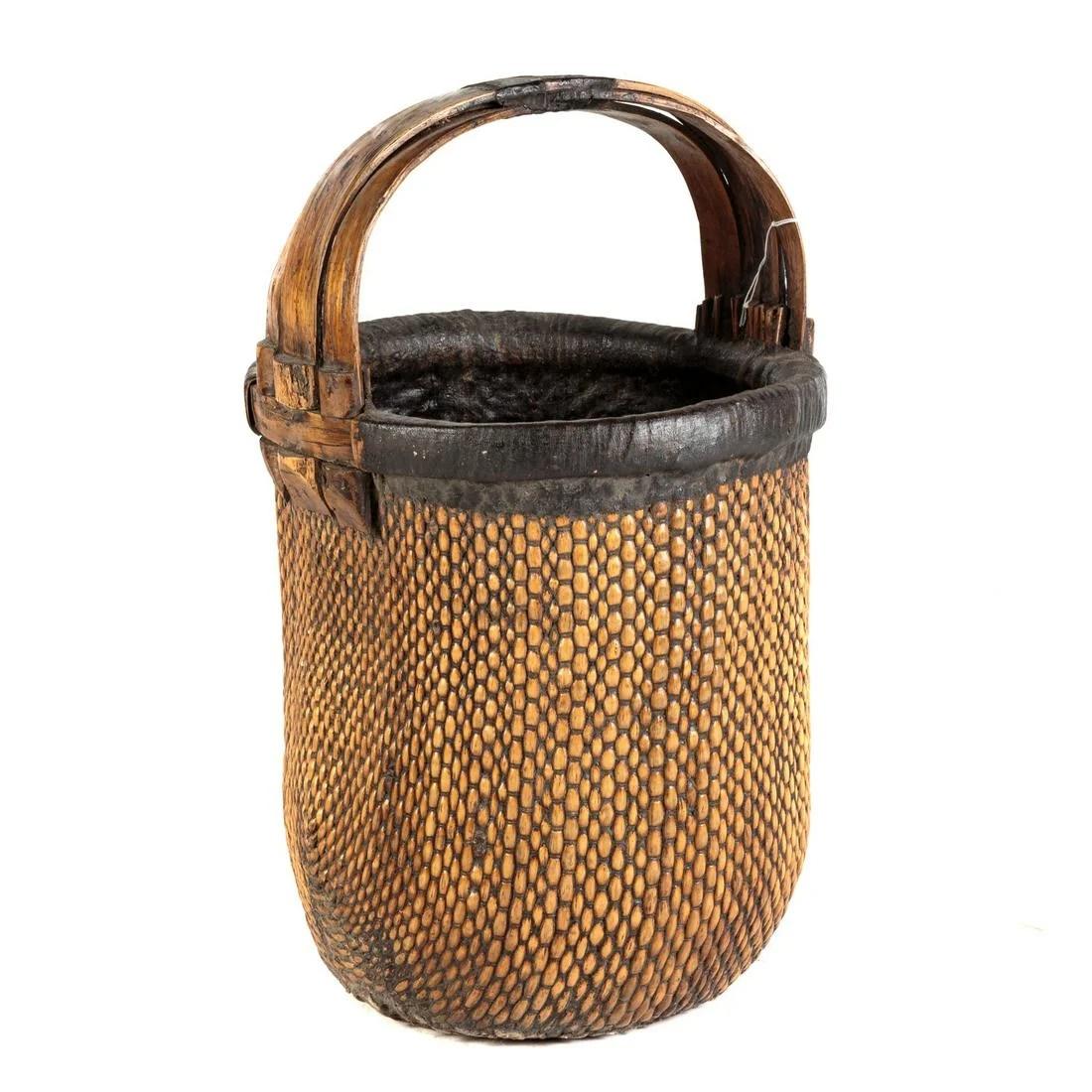 Chinese Woven Bamboo Fisherman's Basket
