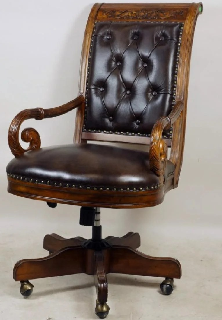 Tufted Leather Office Chair Carved Button Tufted Leather Office Chair On Liveauctioneers