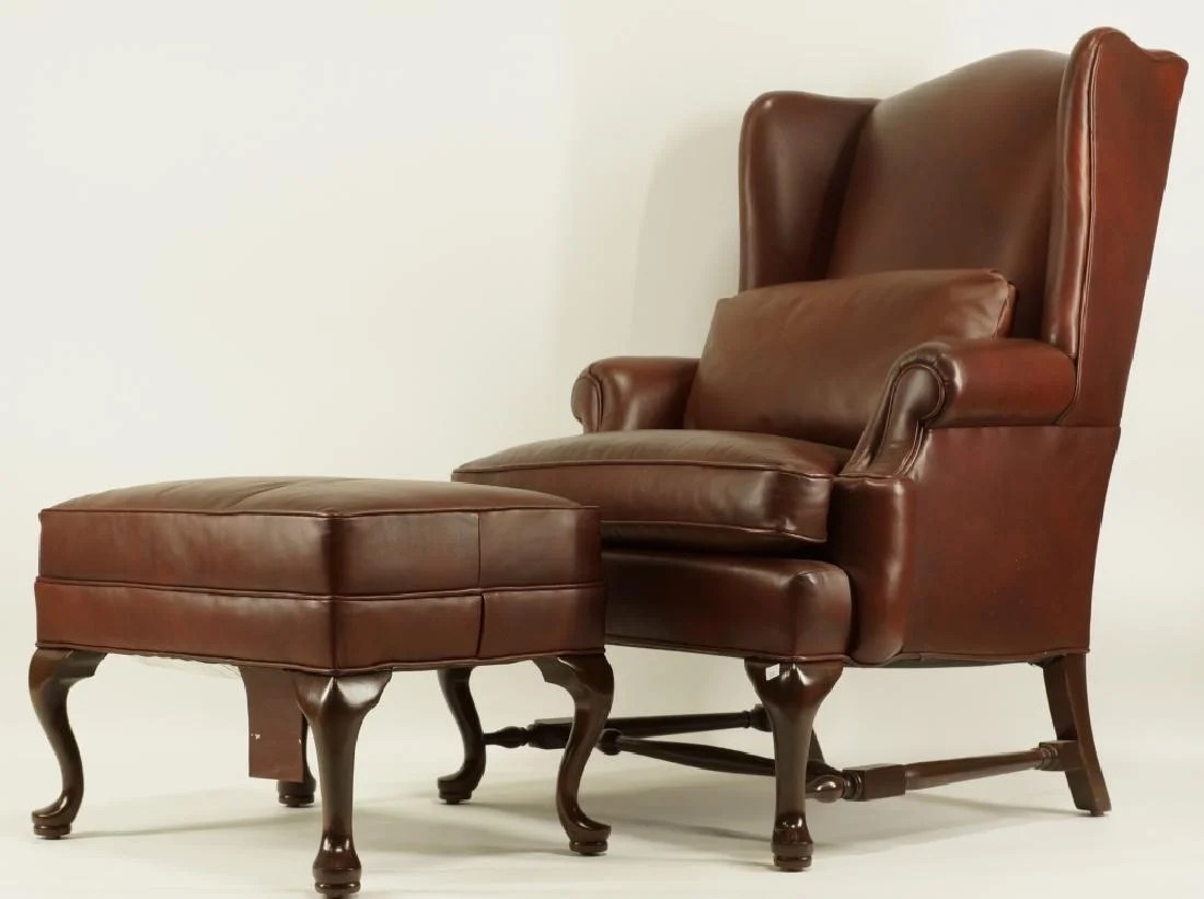 ethan allen leather chair low back camping chairs wing ottoman