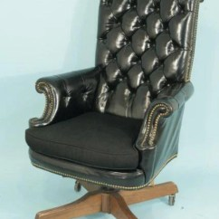 Blue Leather Office Chair Victorian Style Chairs 114 By Loeblein Creations