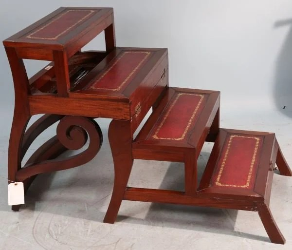 Library Ladder Chair Mahogany Convertible Library Chair Step Ladder