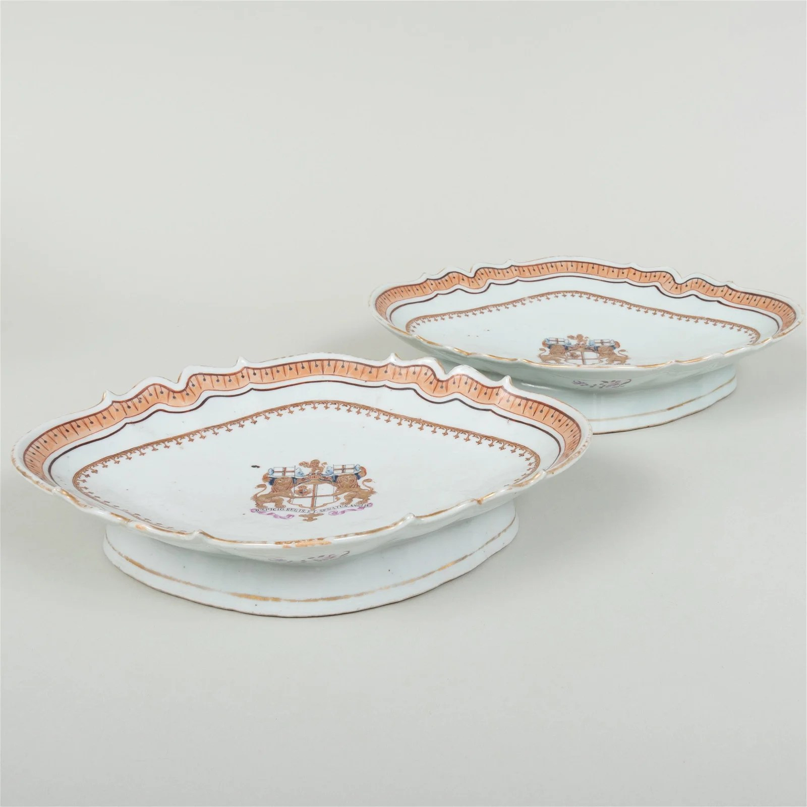 Pair of Chinese Export Porcelain Navette Form Armorial