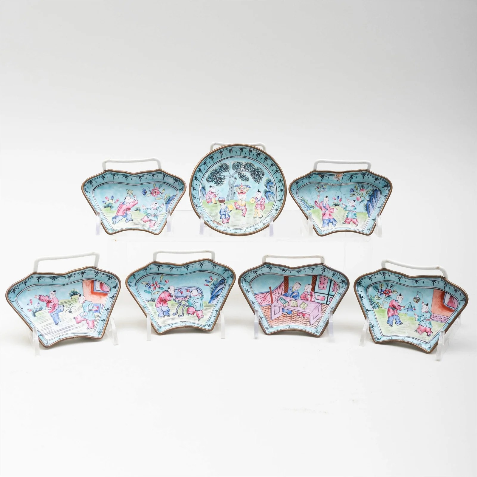 Chinese Canton Enamel Condiment Set