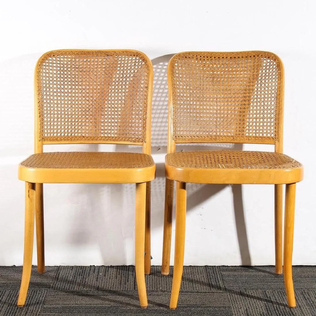 bentwood cane seat chairs hanging chair outdoor original stendig thonet pair