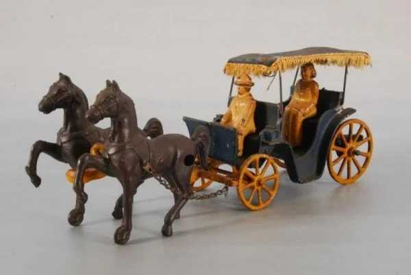766 Stanley Cast Iron Toy Horse And Carriage