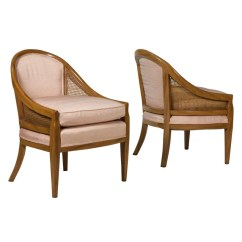 Mid Century Cane Barrel Chair Directors Chairs Pair