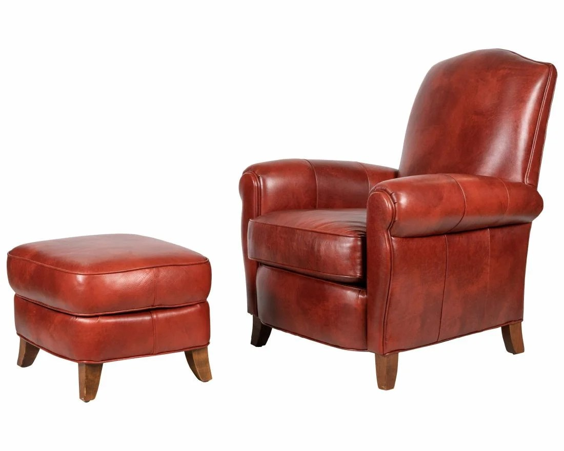 Ethan Allen Club Chairs Ethan Allen Leather Chair And Ottoman On Liveauctioneers