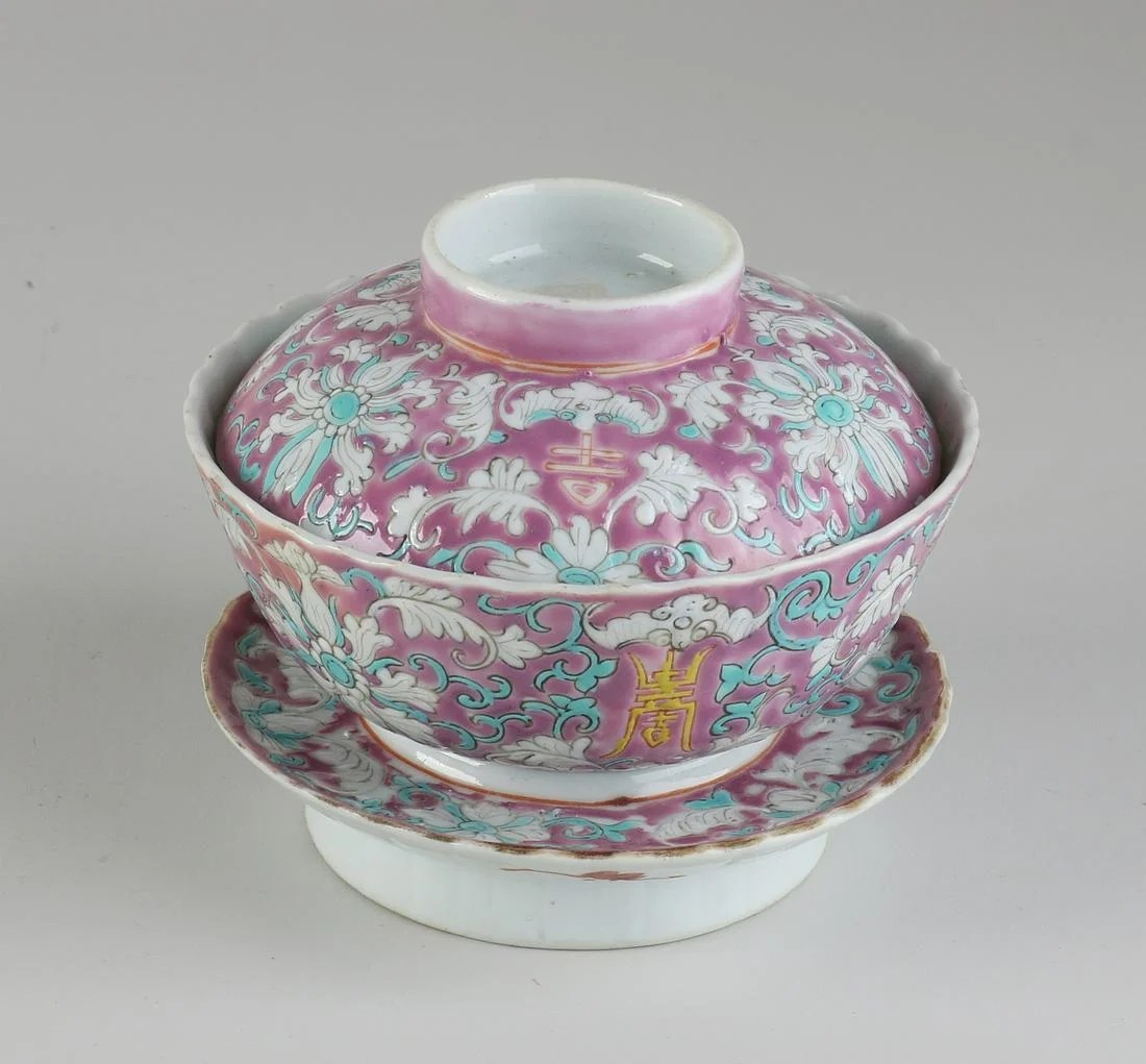 Chinese lidded bowl + saucer