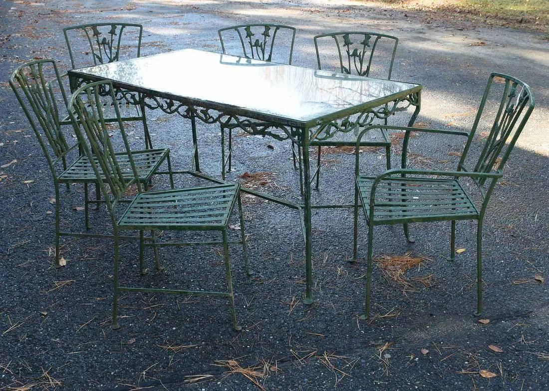 good antique wrought iron patio set