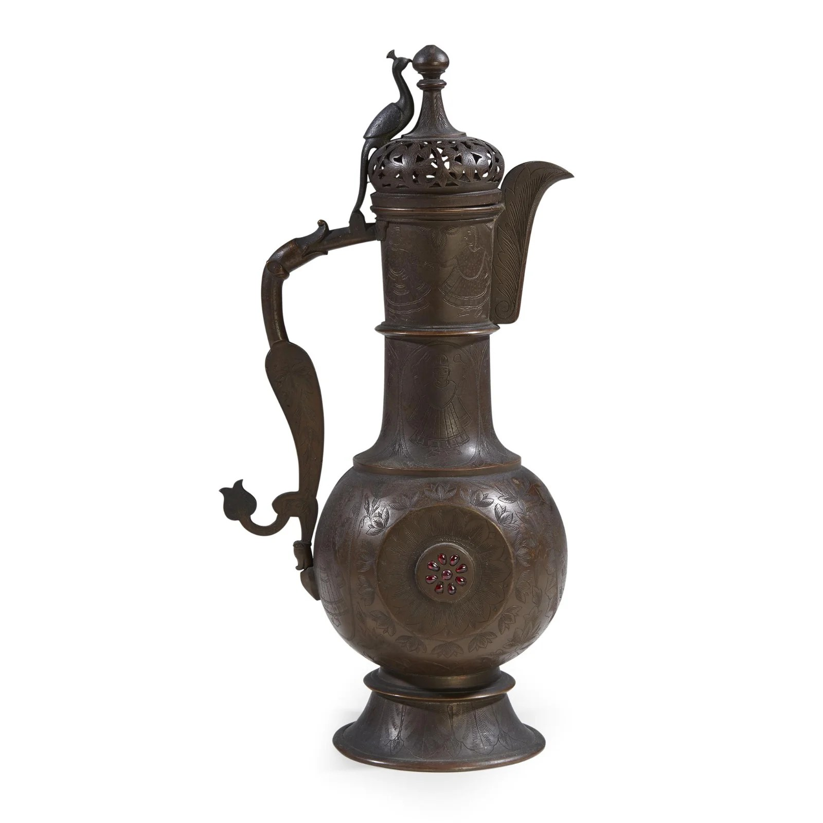 A Kashmiri or North Indian embellished brass ewer,