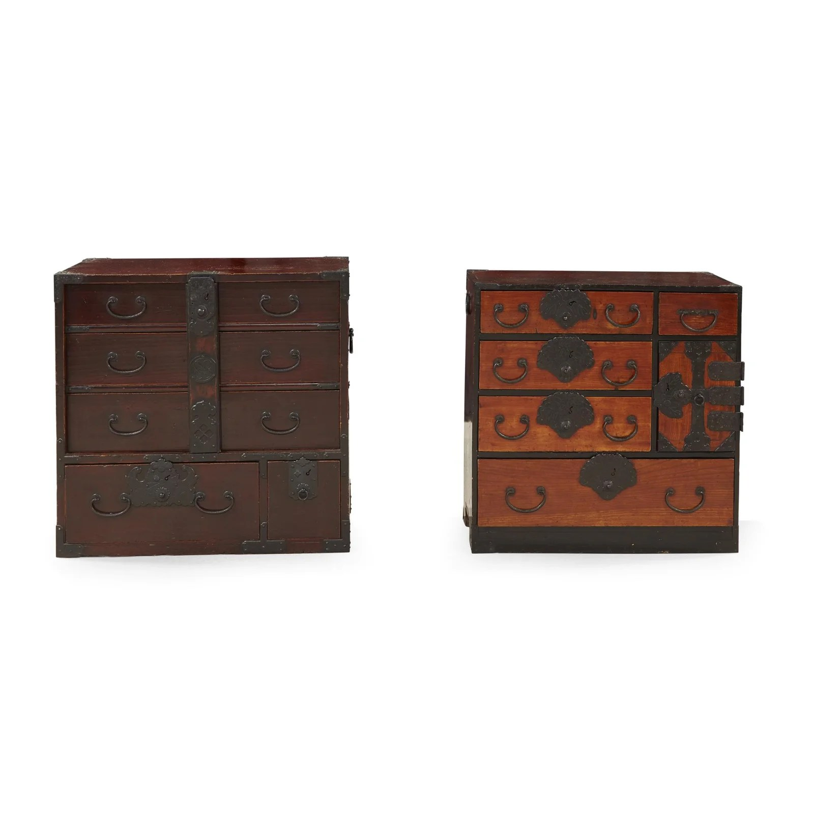 Two small Japanese iron-mounted tansu,